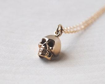Skull Necklace, Gold Skull Necklace, Skull Jewelry