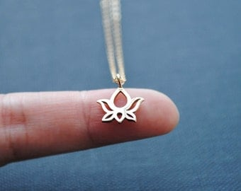 Lotus Necklace, Lotus Jewelry, Gold Lotus Necklace, Silver Lotus Necklace