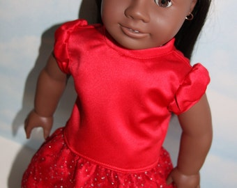 18 Inch Doll (like American Girl) Red Puff Sleeve Blouse and Sparkly Red Lace Skirt