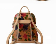 Floral Print Leather Backpack-Large Cool Women Carryall Bag- Stylish Designer Custom Backpacks-Best Quality and Free Returns Guarantee
