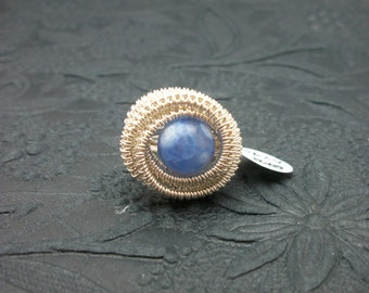 Sterling Silver Wire Wrapped Blue Fire Agate Ring - Size 4.5