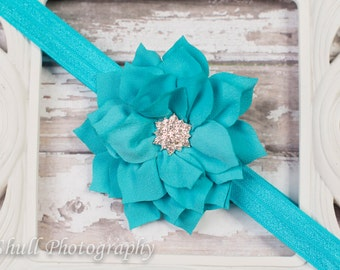 Teal baby headband, teal flower headband, teal baby hair bow, teal baby headband, teal baby girl hairbow, girl headband, teal baby flower he
