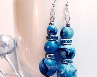 Handmade polymer clay earrings, one of a kind earrings, blue-green earrings,short teal earrings, dangling earrings by Felicianation