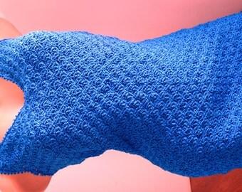 Blue Summer Sleeveless Dress - Shoulder Straps - Crochet Handmade