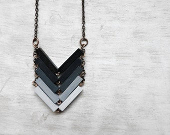 Chevron Necklace // MIDNIGHT // Minimal Necklace // Black Ombre Hand-Painted Pendant // Geometric Jewelry / Modern Necklaces / Ombre Chevron