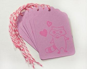 Raccoon Love Valentine Tag Set 6 Blank gift present tag bakers twine