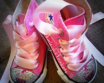 Birthday Sweets Toddler Hi Top Rhinestone Converse Bling Shoes