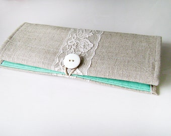 Organizer for jewelry. Roll for jewelry. Organizer for travel. Holder. Bag for jewelry. Linen, mint