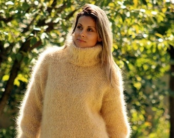 Hand Knit Mohair Sweater CREAMY Fuzzy Turtleneck Jumper Pullover Jersey MADE to ORDER