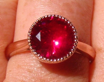 Ruby Engagement Ring, Rose Gold Engagement Ring with Milgrain Bezel