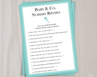 Baby & Co. Nursery Rhyme Baby Shower Game, Printable Mother Goose Nursery Rhymes Quiz, Aqua Robin's Egg Blue Baby Shower Games, Baby and Co.