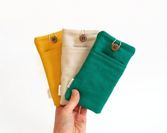 Canvas phone pouch, fabric phone case, phone sleeve, cream, mustard, green, for Iphone, Nokia, Samsung and more