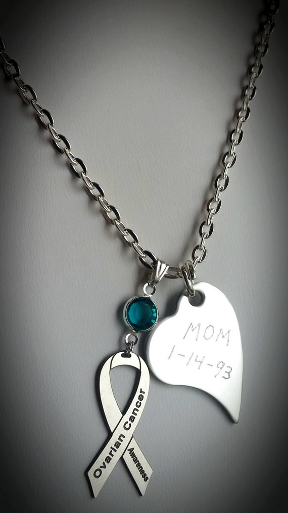 Personalized ovarian cancer awareness necklace by amerricana for Jewelry that supports a charity