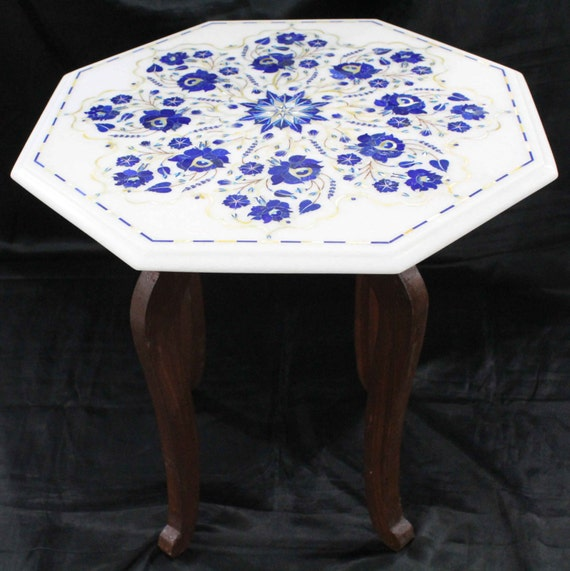 Marquetry Marble Coffee Table: Marble Coffee Table Stone Inlay End Table Hand Made Pietra