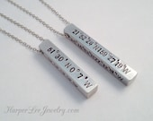 Personalized 4 Sided Solid Bar Necklace/Key Chain: Aluminum, Brass,or Copper-Custom Order-Personalized-Hand Stamped-Coordinates,Names, Dates