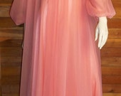 Vintage Lingerie LORRAINE Chiffon Nightgown and Robe Set Medium Dark Peach