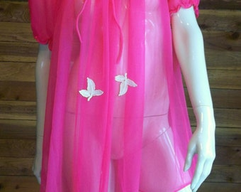 Vintage Lingerie 1970s SHANNON LEE Hot Pink Chiffon Peignoir or Robe Small Style 1270