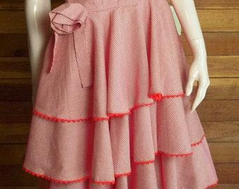 Vintage Handmade Red Checked Gingham Sz Medium Square Dance Dress