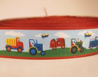 "5 yards of 7/8 inch ""Farm trucks"" grosgrain ribbon"