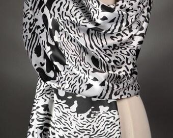 Black Scarf White Scarf Long Scarf Women's Fashion Scarves Shoulder Wraps Pattern Scarves