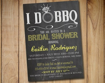 I DO BBQ Bridal Shower Invitation Template - Chalkboard Wedding Shower Template Yellow - Chalkboard Engagement Party Invitation Download