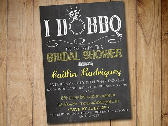 I Do Bbq Bridal Shower Invitation Template Chalkboard
