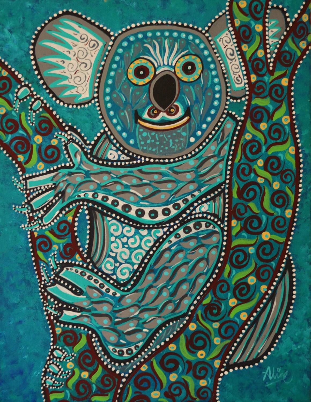 Koala bear painting australian artist folk art original for Australian mural artists