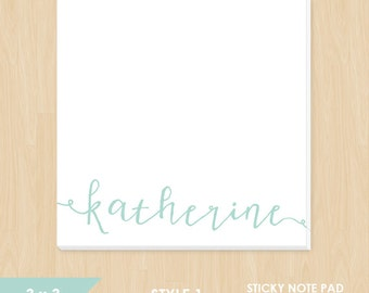 Personalized Sticky Note Pad // Cute Calligraphy Name in Teal, Green, Pink, Gray or Yellow // S104