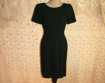 Simple Black Dress Short Sleeve Black Dress Minimalist Funeral Dress Short Black Dress Midi Liz Claiborne Size 4 Size 6 Small Women Clothing