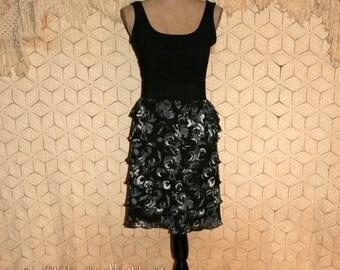 Party Dress Ruffle Dress Sleeveless Tank Summer Dress Midi Club Dress Colorblock Gray Black Floral Print Size 6 Dress Small Womens Clothing