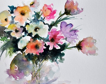 ORIGINAL Watercolor Painting, Colorful Flowers, Still Life Floral Painting 5.5x8 Inch