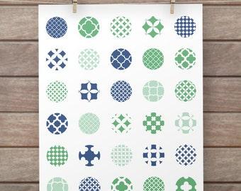 1 inch circle images: GREEN BLUE QUATREFOIL circles patterns for pendants, bottle caps, paper craft, circle collage sheet, digital download