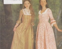 Butterick 6867 Colonial Gown, Boned, Back Laced Closure, Late 1600's to Early 1700's, Cromwell, Charles I, Costume