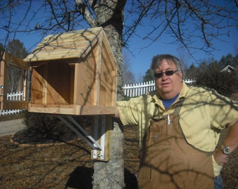 """Little House on a Stick-- Unfinished """"TREE MOUNT"""" library (includes all hardware) Fully Assembled book box---- must be painted or varnished"""