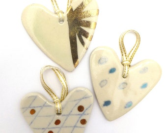 Ceramic heart set | Hand painted with gold lustre | Three hearts | Ornaments | Gift tags | Decorations