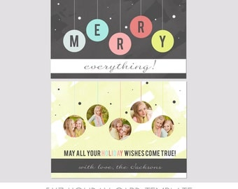 5x7 Christmas Card Template  - Front and Back - Modern Photography Template - Holiday - Family - Children - Bright - Christmas - Gold