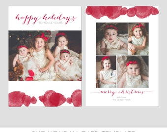 5x7 Christmas Card Template  - Front and Back - Modern Photography Template - Holiday- Family - Children - Bright - Christmas - Red