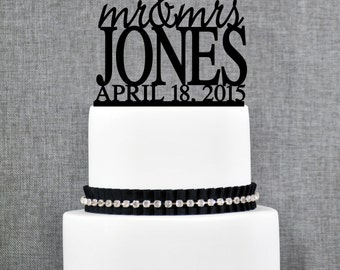 Modern Last Name Cake Topper with Date, Unique Personalized Wedding Cake Topper, Elegant Mr and Mrs Wedding Cake Topper, Engagement - (T013)