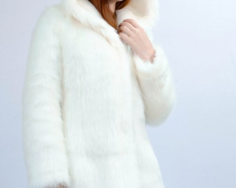 "Faux fur coat ""White panther"""
