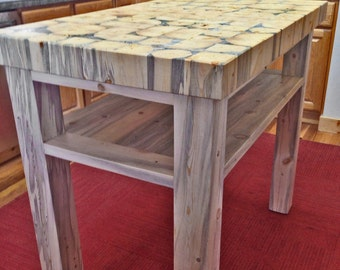 Butcher block kitchen island 3 quot thick end grain blocks handmade