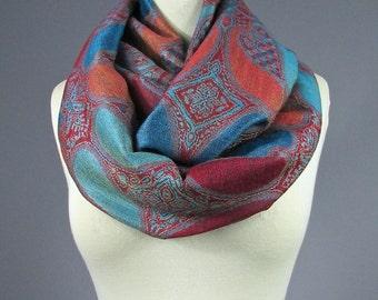 Burnt orange Infinity scarf, blue scarf, orange scarf, paisley scarf