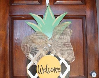 Pineapple Wreath, Pineapple, Pineapple Door Hanger, Front Door Wreath, Wreath, Door Hanger