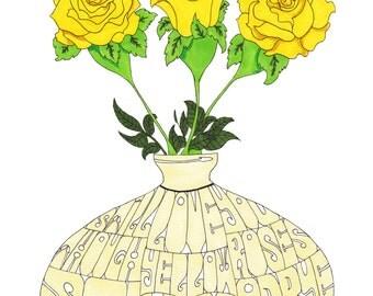 Ry Cooder - Yellow Roses Hand Drawn Illustration Print