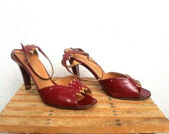 70s Oxblood Shoes, 80s Leather Sandals, Peep Toe Heels, Ankle Strap Pumps, Open Toe Stilettos, Burgundy High Heels, US size 7.5, EU 38