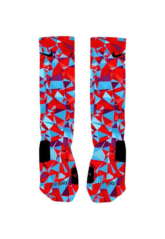 Custom colorful 3d red and blue prism socks custom nike elite for Custom elite com