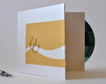 Wedding eco friendly double cd-dvd case, personalized custom love gift, wire rings+white & golden metallic cardboards+ papercut heart