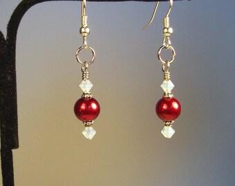 Red Earrings, Red Pearl Earrings, Round Earrings, White Earrings, Swarovski Earrings, Swarovski Crystal Earrings, White Crystal Earrings