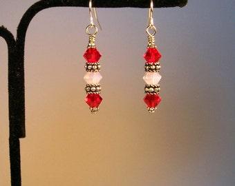 Red and White Earrings, Red Earrings, White Earrings, Swarovski Crystal Earrings, Crystal Earrings, Faceted Crystal Earrings