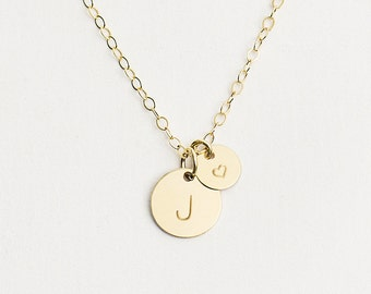 Delicate gold initial disc necklace multiple initial personalised heart necklace gold initial necklace multi disc necklace personalised initial new mozeypictures Image collections
