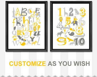 yellow gray animal alphabet poster baby nursery decor ABC wall decor new baby gift toddlers room alphabet nursery abc playroom abc nursery